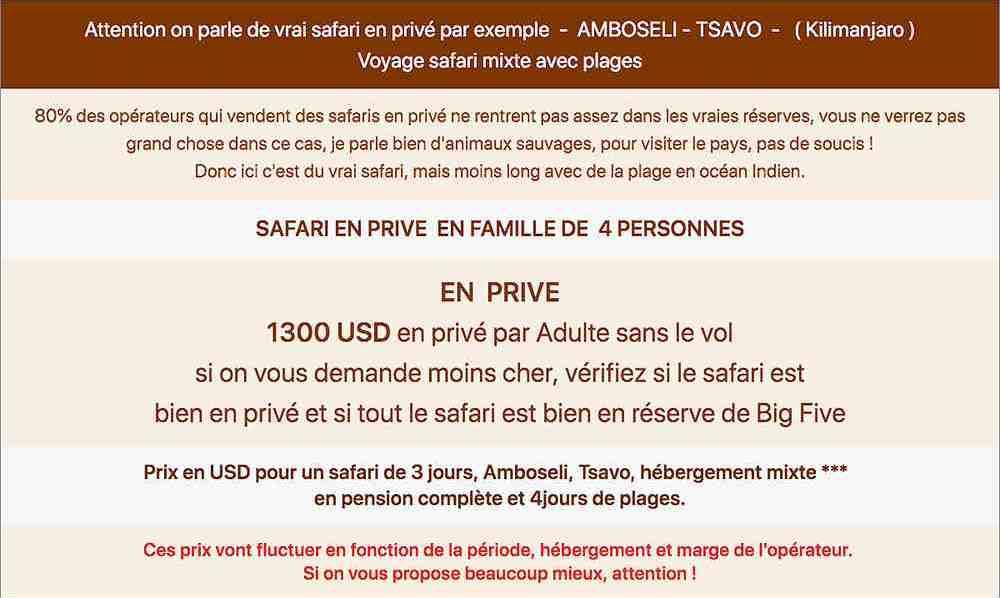 Safari kenya prix. Tableau détaillé qui résume le prix d'un circuit de 3 jours Amboseli Tsavo et 4 jours de plages en groupe
