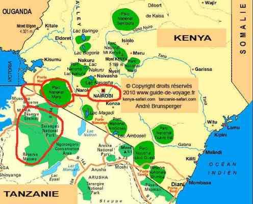 Carte du circuit - Safari Chic grande migration