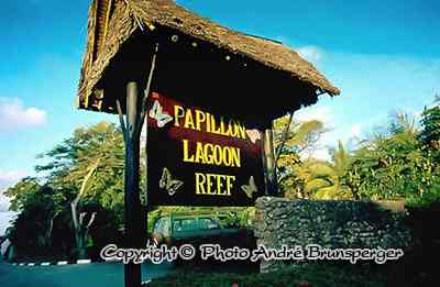 Entrance sign - Hotel Papillon Lagoon Reef 3 stars Diani Beach kenya. good. Diani 40 km south of Mombasa The dream beach on the Indian Ocean coast, Papillon Lagoon Reef hotel.