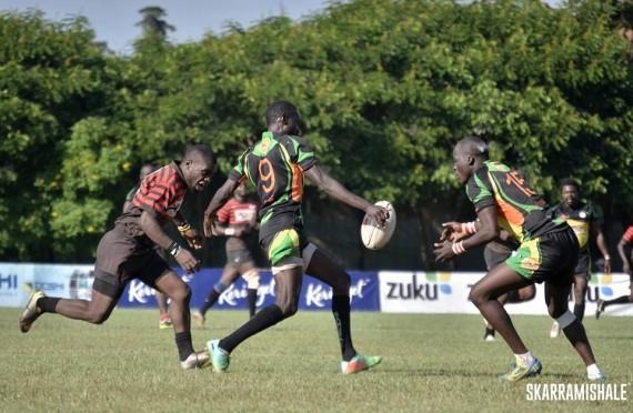 Impala's Sam Onsomu (left) closes down Nakuru's Geoff Ominde (with ball)/Photo/SkarraMishale
