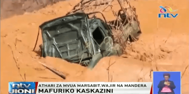 A truck swept away by flash floods on Tuesday, October 15 in Wajir.