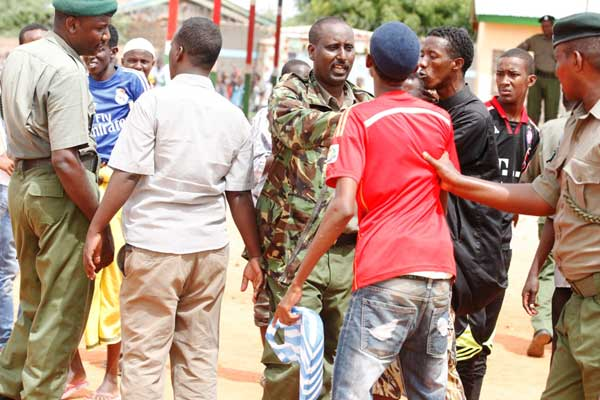 Youth being guided by Prisons officers during the recruitment. Photo: Twitter