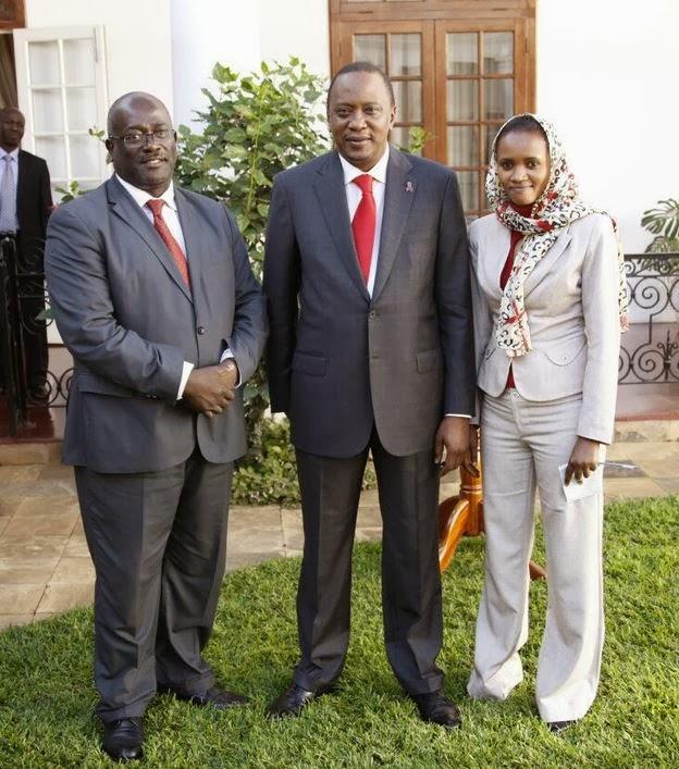 From (L) Kenyan High Commissioner to London Manoah Esipisu, President Uhuru Kenyatta and Deputy Head, Presidential Strategic Communication Unit (PSCU)  Munira Mohammed.