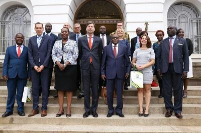 Chief Officer Disaster management third from left Standing next is the Belgium Ambassador, the Ag County Secretary and other senior members Of Nairobi County