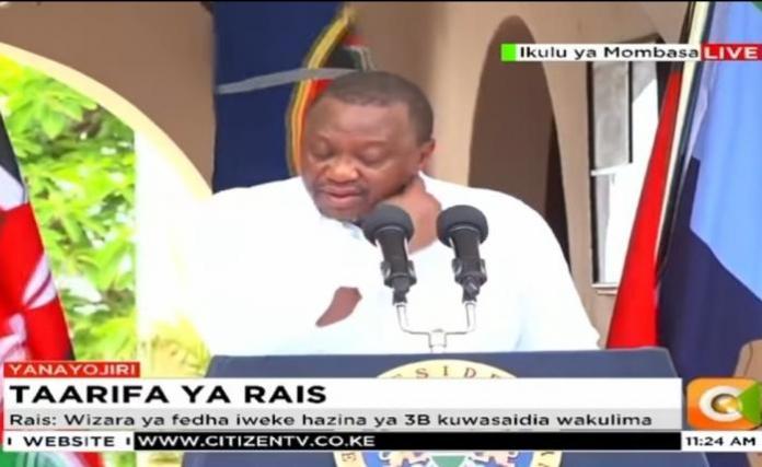 President Uhuru Kenyatta in Mombasa on Tuesday, January 14, 2020.