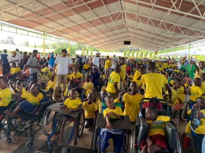 Special needs children atSahajanand Special School in Mtwapa, Kilifi County on Tuesday, January 14, 2020. They joined Raila Odinga in celebrating his birthday