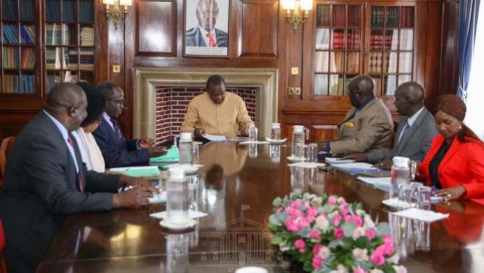 President Uhuru Kenyatta charing a meeting at State House on December 18, 2019.