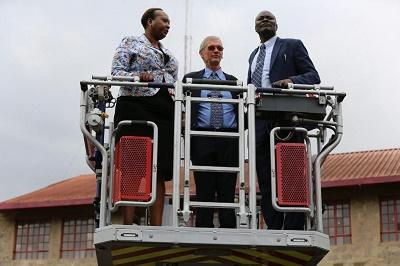 Chief Officer Disaster management with officials from Belgium Government testing a turntable ladder at industrial area fire station.