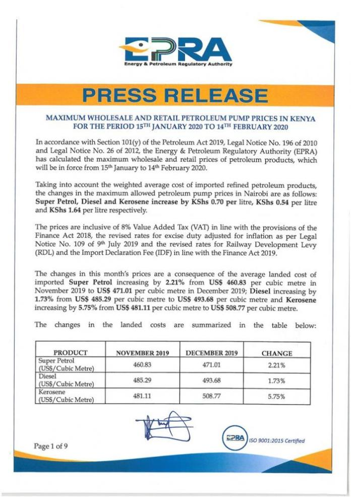 A statement by EPRA released on January 14