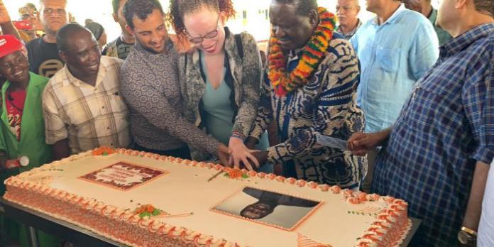 Raila Odinga cuts cake at