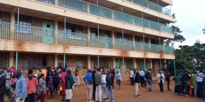 Parents at Kakamega Primary School after a stampede on February 3, 2020