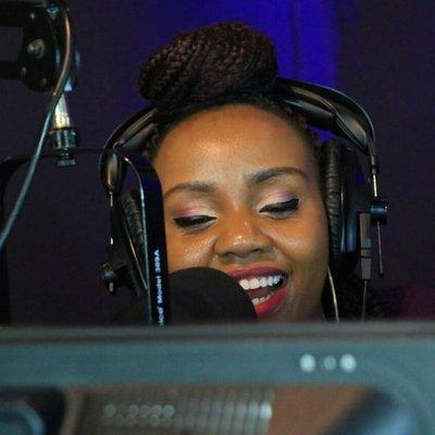 A past photo of Homeboyz Radio presenter Rachel Kiragu in studio