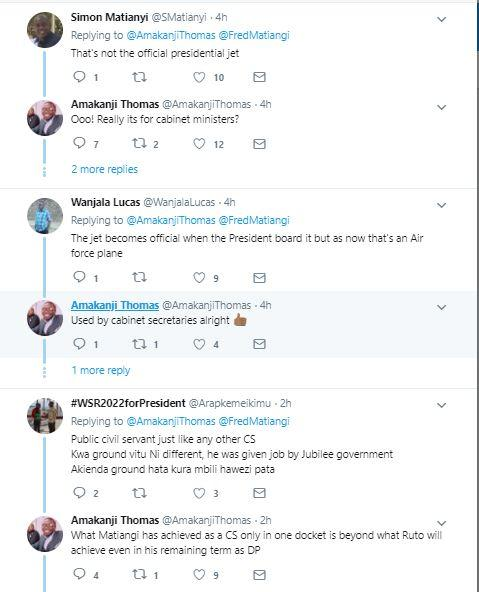 Reactions to Interior CS Fred Matiang'i reportedly using a presidential jet