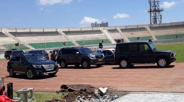President Uhuru Kenyatta drove himself to Nyayo Stadium to inspect Moi Memorial Preparations