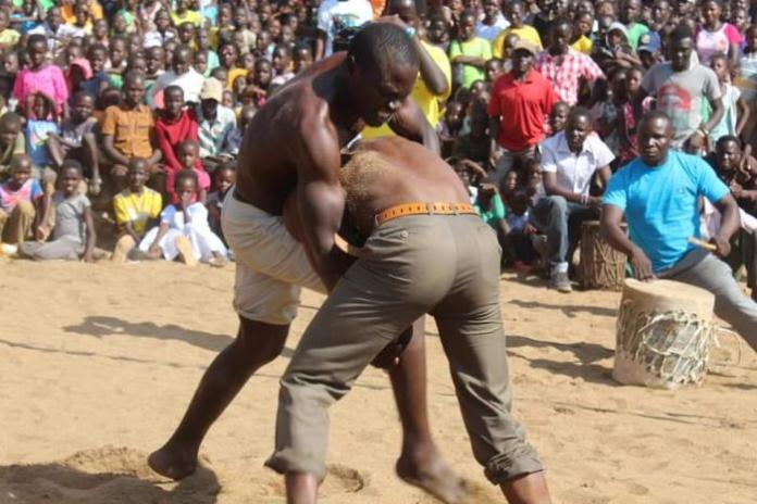 Wrestlers during the 2017 edition of the Isambo Beach Festival.