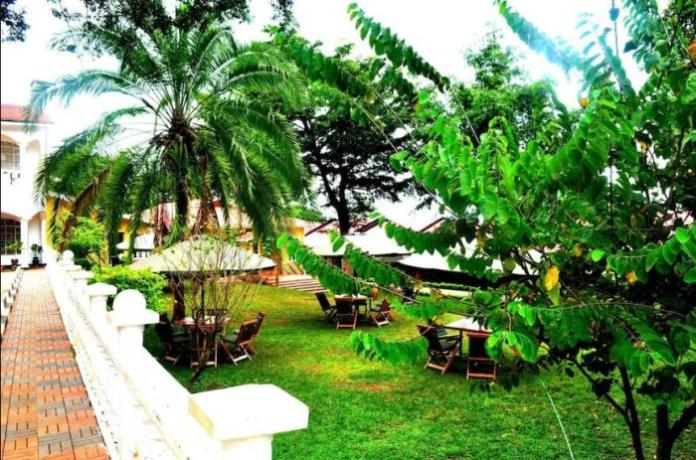 A dining garden inside Countryview Hotel, Embu County