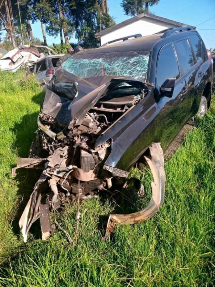 Jubilee Party Secretary-General Raphael Tuju's car at Lari Police Station after an accident along the Nairobi-Nakuru Highway on Wednesday, February 12