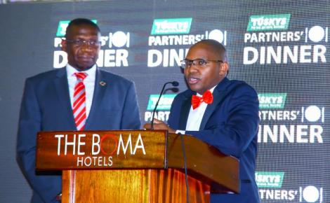 Nairobi Stock Exchange CEO Geoffrey Otieno Odundo and Tusker Mattresses Group CEO Daniel Githua at a past event.