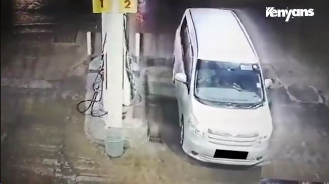 CCTV captures man stealing lubricants from a petrol station.