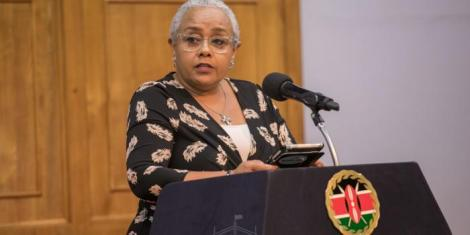 First lady Margaret Kenyatta addressing the Pathways Africa Conference 2020 in Nairobi on Tuesday, February 18, 2020