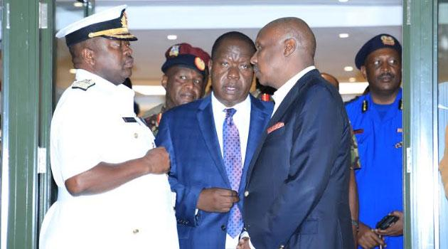 Gideon Moi with military chief Samson Mwathethe, Interior CS Fred Matiangi and Inspector General of Police Hilary Mutyambai at the Nairobi Hospital on Tuesday February 4, 2020 when Gideon announced the death of his father
