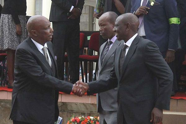 Baringo Senator Gideon Moi (left) shakes hands with DP William Ruto (right) and Nakuru County Governor Lee Kinyanjui at the Nyayo Stadium on February 11, 2020, during Mzee Moi
