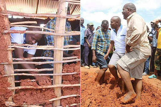 Kithure Kindiki taking part in the construction of mud-walled classrooms at Kamutuandu primary school in February, 2018.