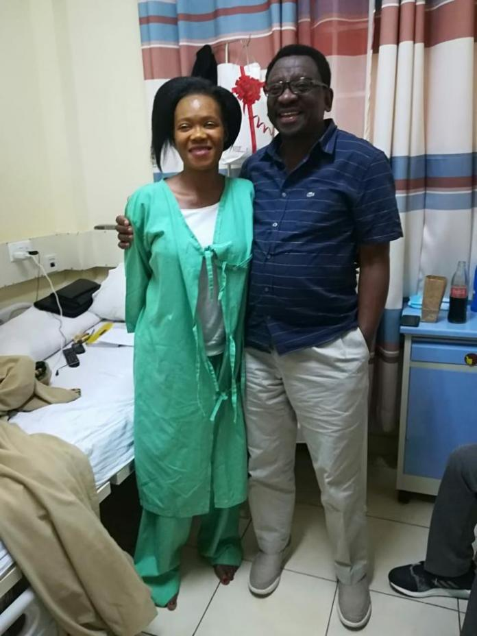 Siaya Senator James Orengo poses for a photo with Lady Maureen when he paid her a visit at St. Francis Hospital, Kasarani on July 18, 2018.