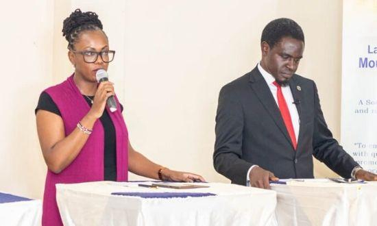 Lawyers Maria Mbeneka and Nelson Havi participating in a debate at Kerugoya on February 21, 2020