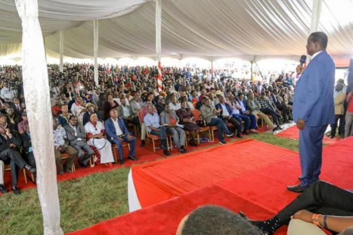 Orange Democratic Movement leader Raila Odinga addresses regional leaders at Narok BBI delegates conference on Friday, February 21, 2020