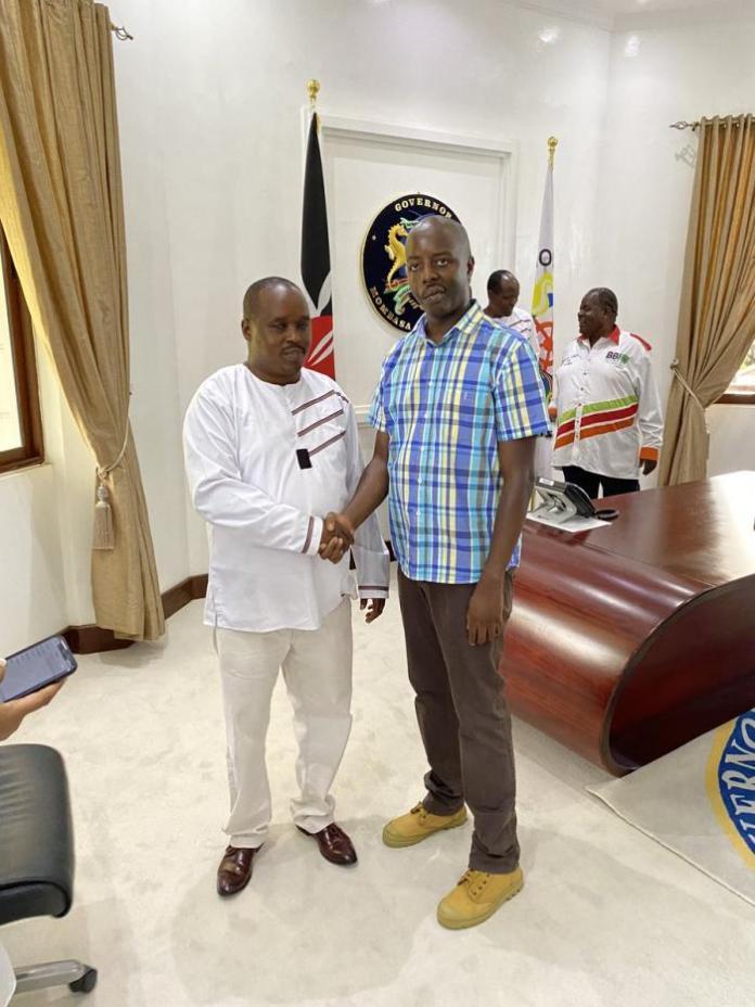 Raila Junior and Elgeyo Marakwet Governor Alex Tolgos in Mombasa on January 25, 2020.