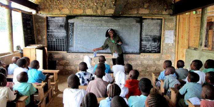 Children being taught in a school