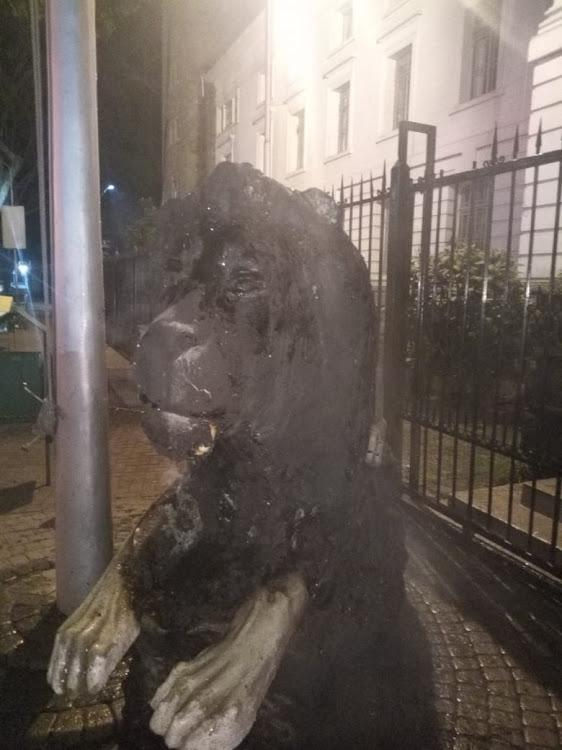 Lion statue outside City Hall was burned on the night on Tuesday, February 25, 2020