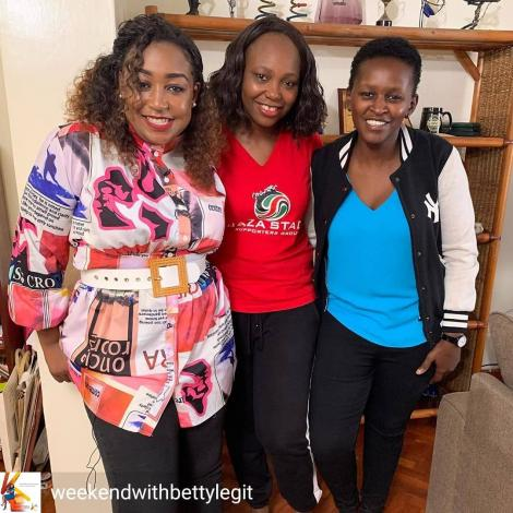 From left: K24 TV news anchor Betty Kyallo, sports personality and journalist Carol Radull, and Sarah Mwangi pose for a photo at Radull