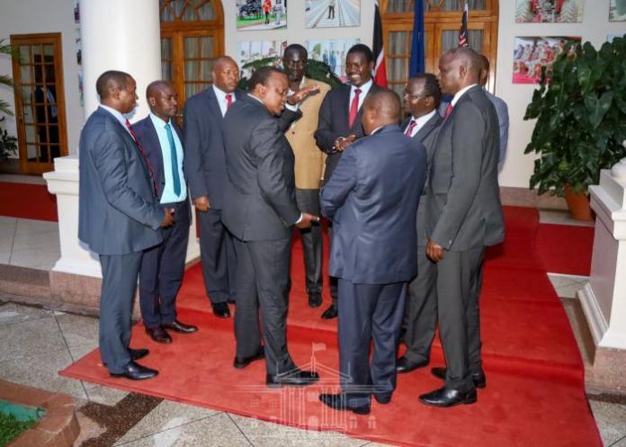 President Uhuru Kenyatta when he met Rift Valley governors at State House Kenya