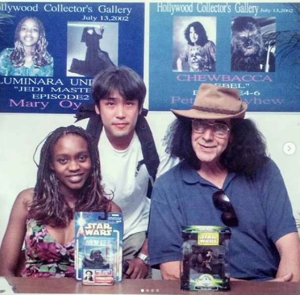 Mary Oyaya (left) poses for a photo with star wars fans at an undated event.
