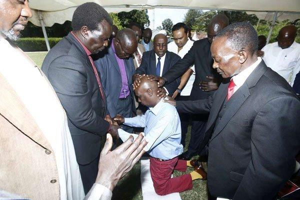 Religious leaders lay their hands on Gideon Moi at Kabarak, Nakuru County on Sunday, March 1