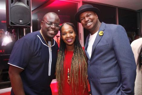 Actor Ojiambo Ainea (left), Nairobi Festival technical director Louiza Wanjiku(center) and actor Maqbul Mohammed (right) at the red-carpet premiere of