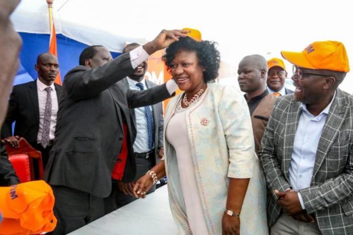 ODM Leader Raila Odinga and former Kasarani MP Elizabeth Ongoro at Chungwa House on Wednesday, March 4, 2020.