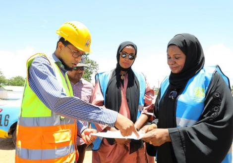 Mombasa County Acting Tourism Chief Officer Asha Abdi (centre) inspects a project at Tononoka Grounds, Mombasa on March 14, 2020