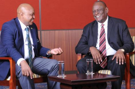 Tony Gachoka interviews former Jubilee Vice-Chair David Murathe on the set of his Point Blank Show in April 2019