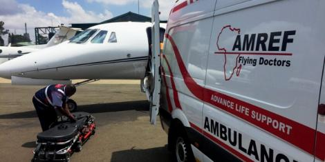 AMREF medics being prepped for patient transfer from Nairobi to South Africa in February 2017