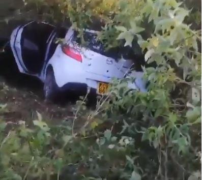 Mazda Demio that crashed into a thicket after plummeting down Ngong Hills