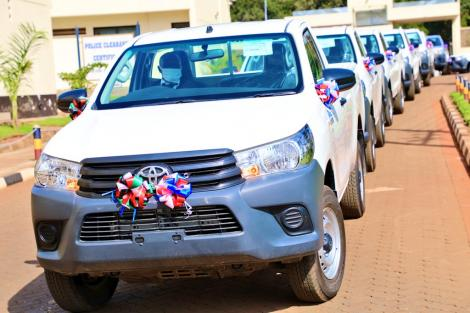 10 Toyota Hilux single cabin vehicles donated to DCI by the US government on Friday, May 2020