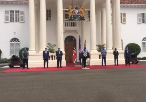 President Uhuru Kenyatta addressing a press conference at State House Nairobi on Saturday, May 23.