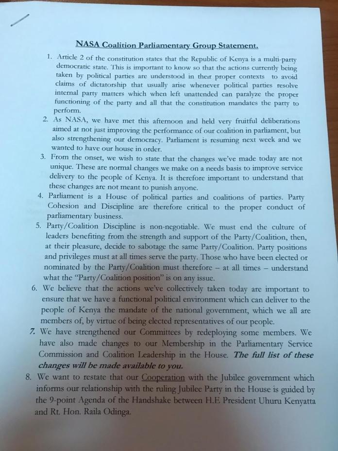 Raila's NASA kicks out DP Ruto allies from Parliamentary posts; Aisha Jumwa, Wamalwa, 6 others de-whipped