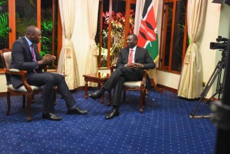 NTV Anchor Ken Mijungu interviews DP William Ruto at his Karen home on Thursday, January 23, 2020.