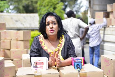 Nairobi Woman Representative Esther Passaris addresses a press briefing as she dispatched sanitary pads in Nairobi on April 1, 2020