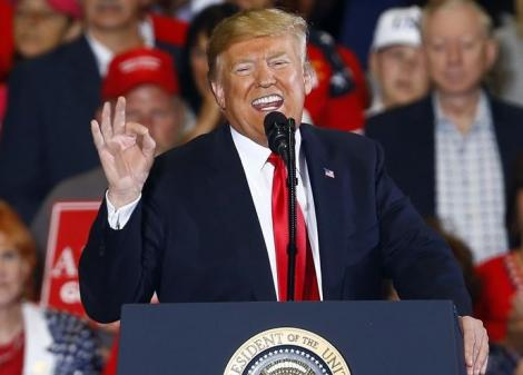 US President Donald Trump speaking at a political rally.