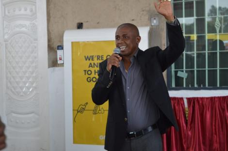 Businessman Eric Ndichu during the launch of his petrol station in Juja on August 13, 2020